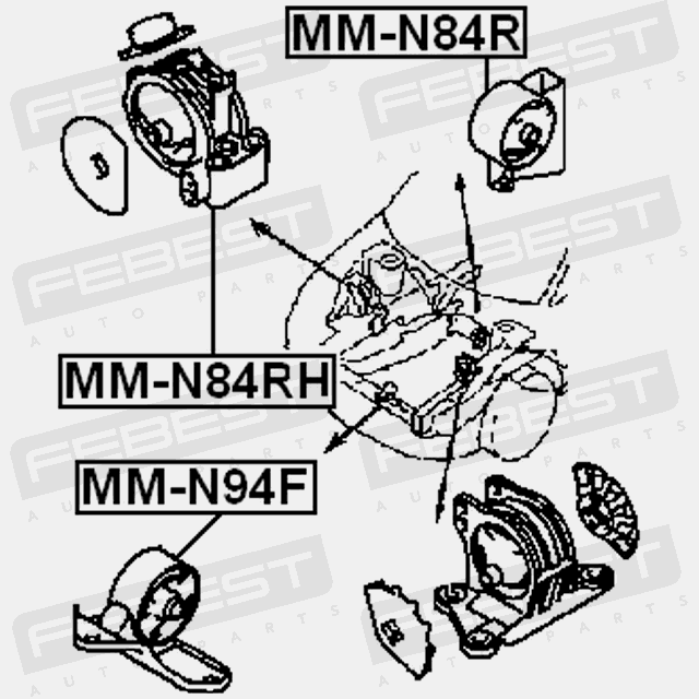 Mm N84r Febest Rear Engine Mount For Mitsubishi Mr316651