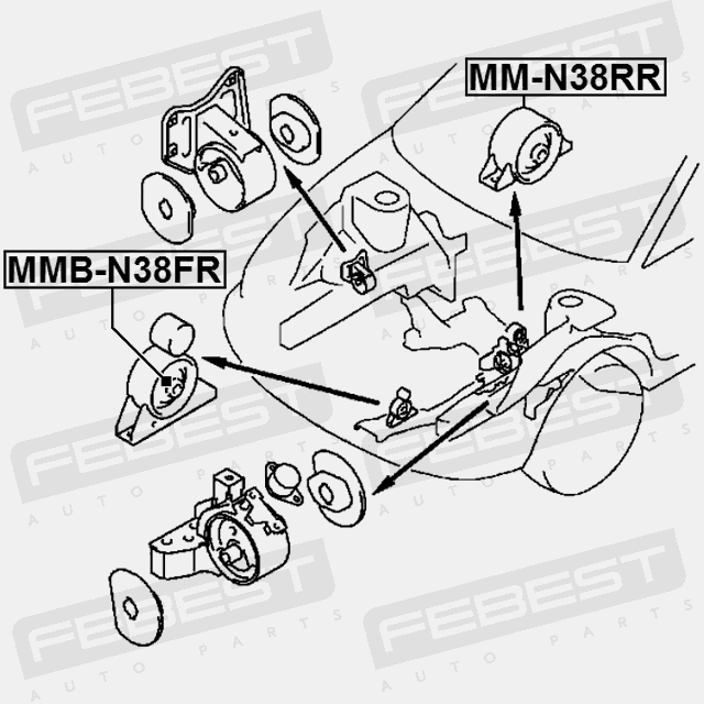 Mmb N38fr Febest Arm Bushing Front Engine Mount For Volvo 30819188