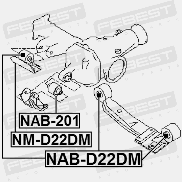 Nm D22dm Febest Rear Differential Mount For Nissan 54710 2s700