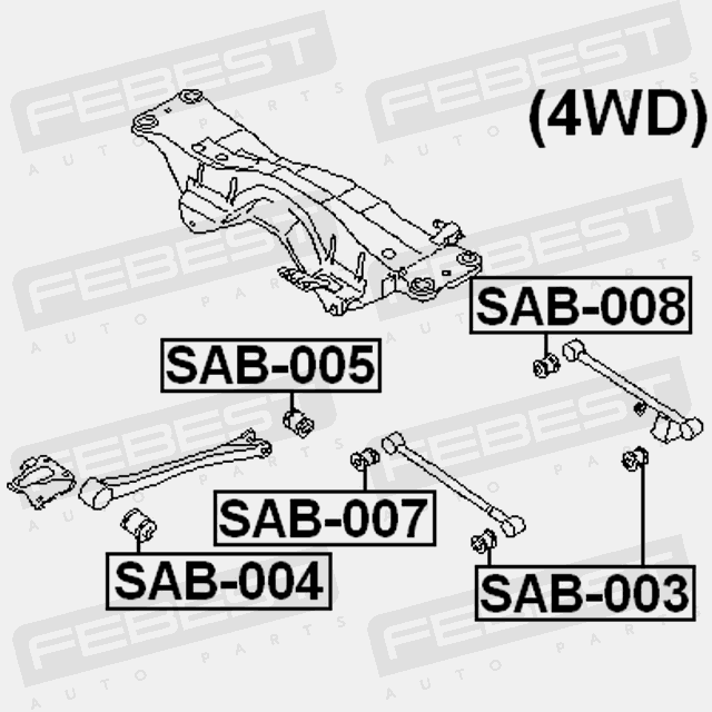 Arm Bushing For Subaru 20251Aa021 Febest For Track Control Arm