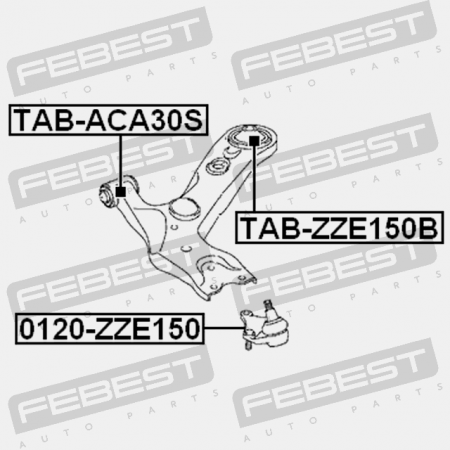 Ball Joint Front Lower Arm FEBEST 0120-ZZE150 OEM 43330-19245