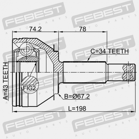 Outer Cv Joint Rear 43X67.2X34 For Nissan Patrol Y62 2010-