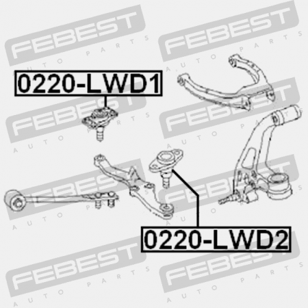 Ball Joint Front Lower Arm Febest 0220-LWD2 Oem 40160-05U00