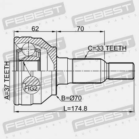 OUTER CV JOINT 37X70X33 Febest 3610-H3