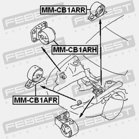 Rear Engine Mount Mt Mitsubishi Mb949166 Rubber Parts Febest Mm
