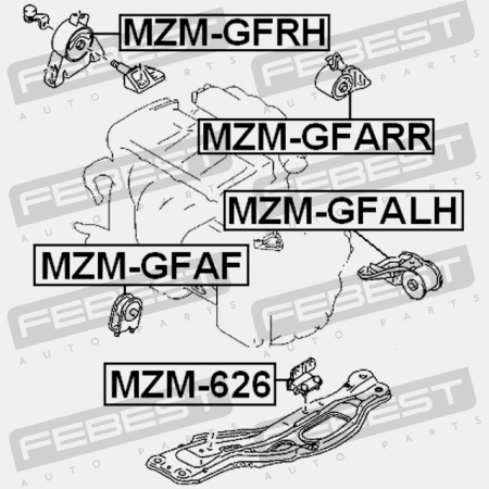 HYDRO MZM-GFRH Febest RIGHT ENGINE MOUNT for MAZDA G15C-39-060A