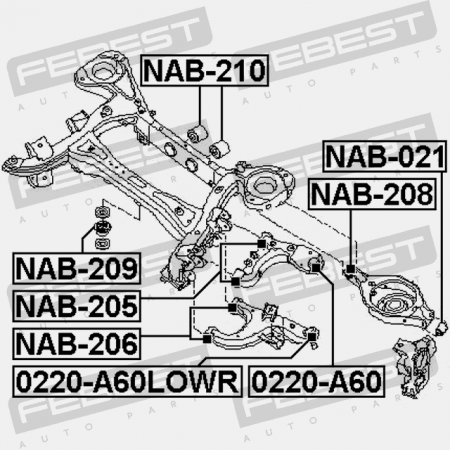 5471131G01 For Nissan for Rear Differential Mount Febest Arm Bushing